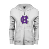 ENZA Ladies White Fleece Full Zip Hoodie-Interlocking HC