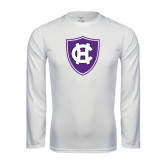 Performance White Longsleeve Shirt-HC Shield
