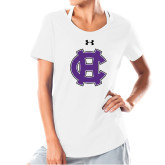 Ladies Under Armour White Charged Cotton Tee-Interlocking HC