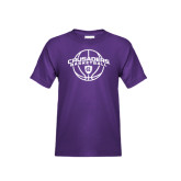 Youth Purple T Shirt-Crusaders Basketball Arched w/ Ball