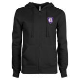 ENZA Ladies Black Fleece Full Zip Hoodie-HC Shield