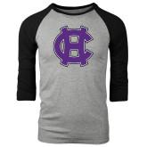 Grey/Black Tri Blend Baseball Raglan-Interlocking HC