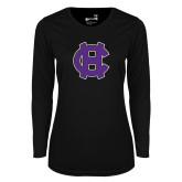 Ladies Syntrel Performance Black Longsleeve Shirt-Interlocking HC