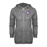 ENZA Ladies Black Marled Full Zip Hoodie-HC Shield