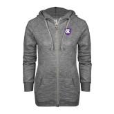 ENZA Ladies Grey/Black Marled Full Zip Hoodie-HC Shield