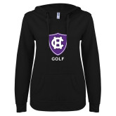 ENZA Ladies Black V Notch Raw Edge Fleece Hoodie-Golf