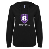 ENZA Ladies Black V Notch Raw Edge Fleece Hoodie-Football