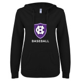 ENZA Ladies Black V Notch Raw Edge Fleece Hoodie-Baseball