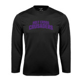 Performance Black Longsleeve Shirt-Holy Cross Crusaders Arched