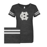ENZA Ladies Black/White Vintage Triblend Football Tee-Interlocking HC