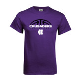 Purple T Shirt-Basketball Half Ball Design