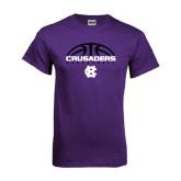 Purple T Shirt-Basketball Half Ball Design