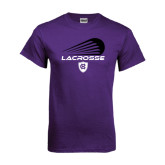 Purple T Shirt-Abstract Lacrosse Design