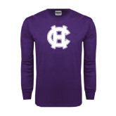 Purple Long Sleeve T Shirt-Interlocking HC
