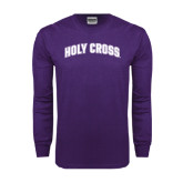 Purple Long Sleeve T Shirt-Holy Cross Arched