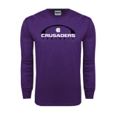 Purple Long Sleeve T Shirt-Crusaders Football Horizontal