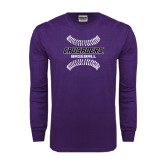 Purple Long Sleeve T Shirt-Baseball Stitches