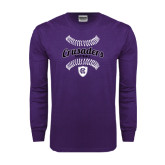 Purple Long Sleeve T Shirt-Softball Stitches