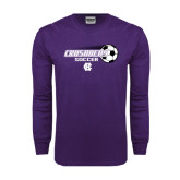 Purple Long Sleeve T Shirt-Soccer w/ Flying Ball