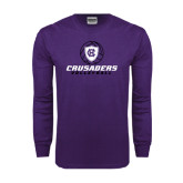 Purple Long Sleeve T Shirt-Vollyball Ball Design