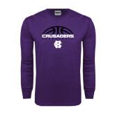 Purple Long Sleeve T Shirt-Basketball Half Ball Design