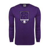 Purple Long Sleeve T Shirt-Soccer Shield Design