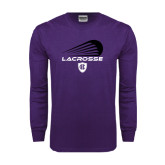 Purple Long Sleeve T Shirt-Abstract Lacrosse Design