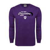 Purple Long Sleeve T Shirt-Hockey Puck Design