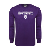 Purple Long Sleeve T Shirt-Track and Field Design