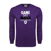 Purple Long Sleeve T Shirt-Game Set Match - Tennis Design