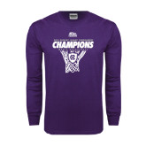 Purple Long Sleeve T Shirt-2016 Patriot League Mens Champions Basketball