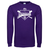 Purple Long Sleeve T Shirt-2017 Patriot League Mens Champions Baseball