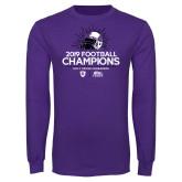 Purple Long Sleeve T Shirt-2019 Football Champs