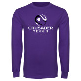 Purple Long Sleeve T Shirt-Tennis Abstract Ball