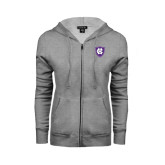 ENZA Ladies Grey Fleece Full Zip Hoodie-HC Shield
