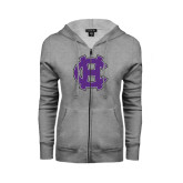 ENZA Ladies Grey Fleece Full Zip Hoodie-Interlocking HC
