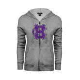 ENZA Ladies Grey Fleece Full Zip Hoodie-Interlocking HC