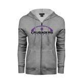 ENZA Ladies Grey Fleece Full Zip Hoodie-Crusaders Football Horizontal