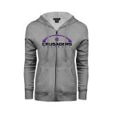 ENZA Ladies Grey Fleece Full Zip Hoodie-Crusaders Football Horizontal