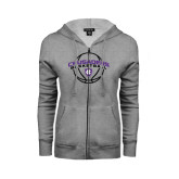 ENZA Ladies Grey Fleece Full Zip Hoodie-Crusaders Basketball Arched w/ Ball