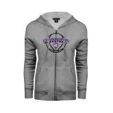 ENZA Ladies Grey Fleece Full Zip Hoodie-Crusaders Basketball Arched w/ Ball