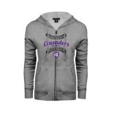 ENZA Ladies Grey Fleece Full Zip Hoodie-Softball Stitches