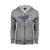 ENZA Ladies Grey Fleece Full Zip Hoodie-Soccer w/ Flying Ball