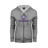 ENZA Ladies Grey Fleece Full Zip Hoodie-Vollyball Ball Design