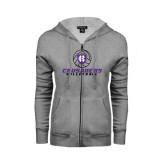 ENZA Ladies Grey Fleece Full Zip Hoodie-Vollyball Ball Design