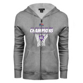 ENZA Ladies Grey Fleece Full Zip Hoodie-2016 Patriot League Mens Champions Basketball