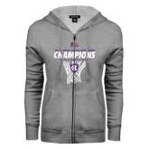 ENZA Ladies Grey Fleece Full Zip Hoodie-2016 Patriot League Mens Champions Basketball