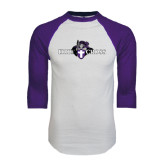 White/Purple Raglan Baseball T Shirt-Official Logo