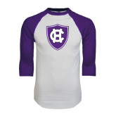 White/Purple Raglan Baseball T Shirt-HC Shield