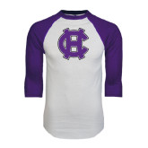 White/Purple Raglan Baseball T Shirt-Interlocking HC